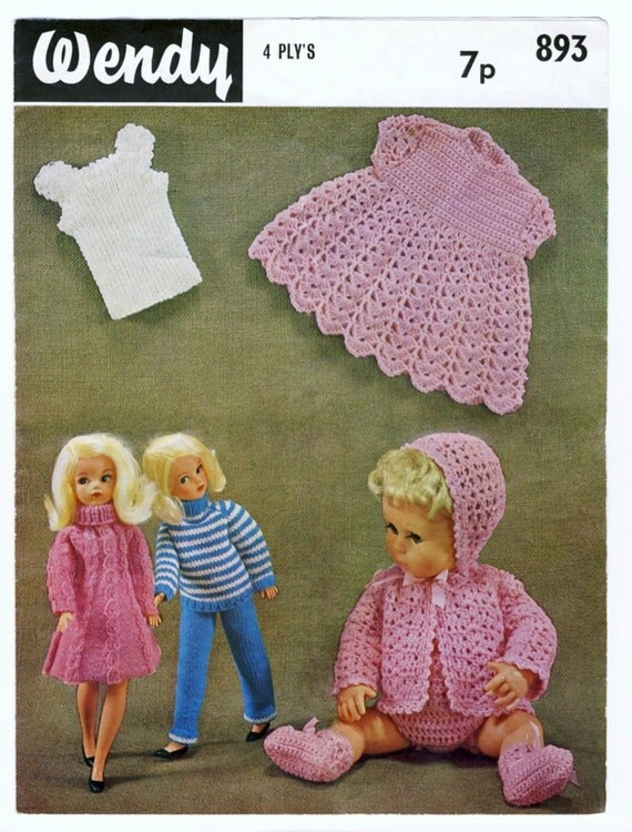 Wendy Knitting Patterns For Dolls : Wendy 893 DOLLS CLOTHES. Knitting Pattern for Sindy ...