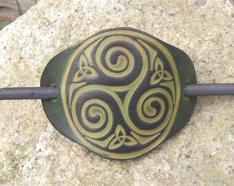 "Leather hair barrette , celtic design  big triskell number 4, colour""vert anis"" (16 colours available)"