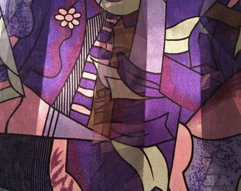 Vintage 1970s Lavender Picasso Scarf made from Silk and Cotton...