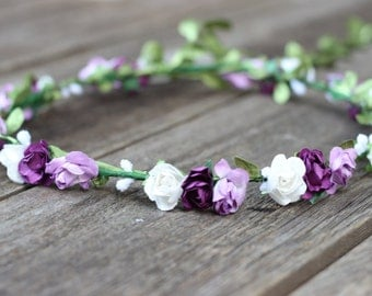 Floral Crown Purple Flower Crown Wedding Headband Rose Head Crown Floral Headpiece Plum Purple Flower Hair Crown Purple Floral Crown Lilac