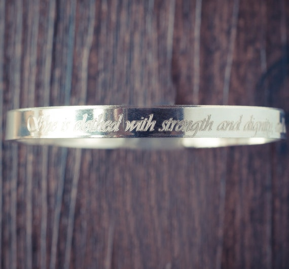 Fearless Sterling Silver Engraved Proverbs XXXI : XXV Bangle