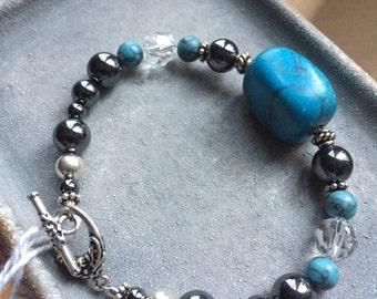 Turquoise & Hematite Bracelet