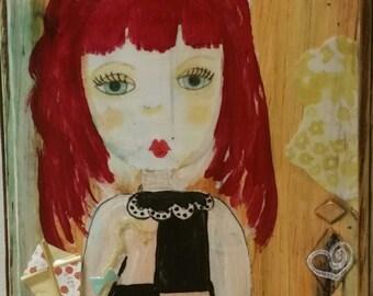 Dainty Girl, Painted Wood Panel , Mixed Media Wall Art