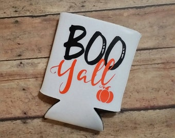 Boo Yall Halloween Fall Can Drink Holder- Thanksgiving