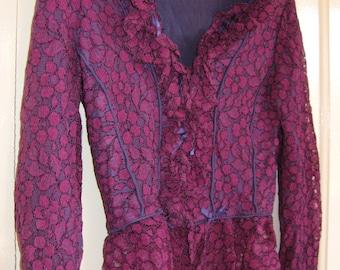 1960s Purple Lace Blouse