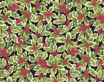 Poinsettia Christmas Holly  Andover Cotton Quilt Fabric    BFab    By the Yard