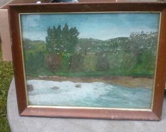 Vintage hand painted landscape scene