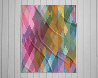 Prism geometric plush throw blanket with white back