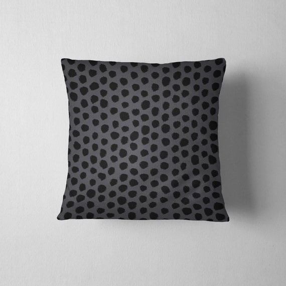 Black and gray spotted dalmatian throw pillow