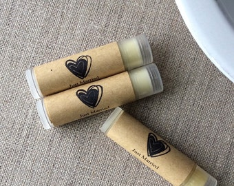 25 Just Married lip balm favors, personalized lip balm favors,  heart favors, custom lip balms, Wedding favors