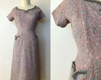 1950's Baby Blue and Dusty Rose Lace Formal Dress