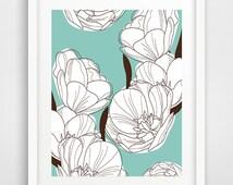 Flower wall art, flowers wall print, minimal flowers print, floral decor, flowers illustration, Scandinavian decor