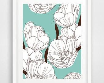 Flowers print, floral wall art, botanical print, modern wall art, cool posters, floral wall art, large art, nursery wall decor, dorm decor
