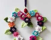 Crochet Flower Love Heart Decoration Wall Hanging. Housewarming or Gift for Her, Mum, Sister or Special Friend. Unique & Original Home Decor