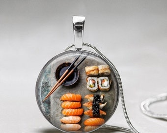 Sushi Necklace - Sushi Plate setting Necklace - sushi jewelry - Gift for Sushi Lover