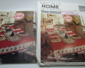 McCalls Home Christmas  Decorating Dinning Essentials 858 8438 Sewing Pattern Seat Cushions Tablecloth Oblong Round Runner Placemat Napkin