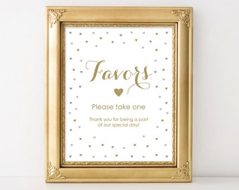 PRINTABLE Favors Wedding Sign, 8x10 and 5x7 Printable Wedding Sign, Gold and Silver Gray Wedding Decor, Favors Reception INSTANT DOWNLOAD