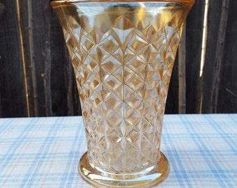 Marigold Iridescent Carnival Glass Vase