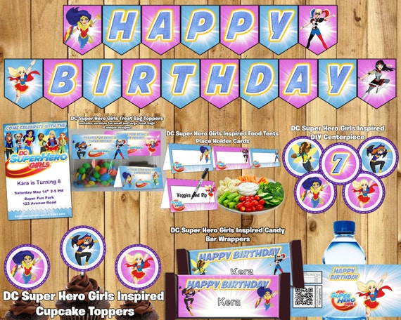 DIY DC Super Hero Girls Inspired Party Kit Banner Invite Cupcake Toppers Favor Tags Centerpiece DC Super Hero Girls Birthday Birthday Party