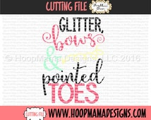 Glitter Bows and Pointed Toes Cheer and Dance SVG DFX EPS and png Files for Cutting Machines Cameo or Cricut