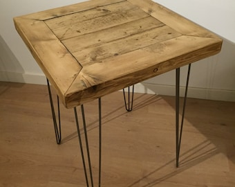 Reclaimed Pine Mitred Table Solid Wood Metal Hairpin Legs