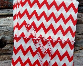 Red Chevron Paper Treat Bags - (12 pcs) - TBCV-RD