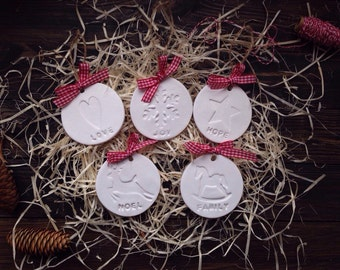 Set of 5 white clay Christmas tree decorations
