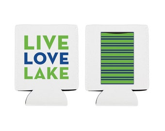 Live Love Lake Can Coozie with Pocket