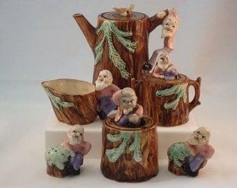 RARE!!! Tree Stump With Gnome Old Man Figure Handle Tea Pot