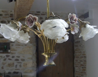 Stunning French Brass Ceiling Light with Hand Painted China Roses, Glass shades in the shape of flowers