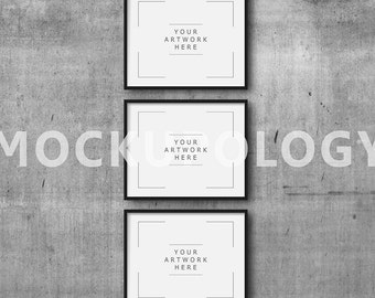 8x10 16x20 24x30 set of three horizontal digital black frame mockup on concrete wall background styled photography mockup instant download