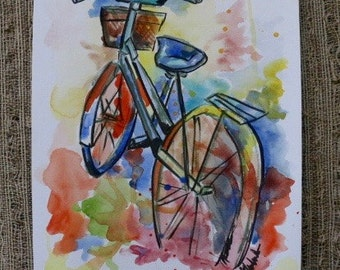 Watercolor Bicycle Colorful Painting by Olivia Rose Art