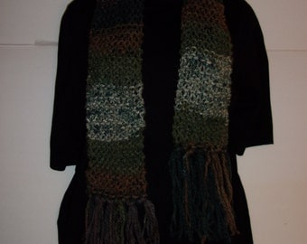 Hand Made Green and Brown Multi-Colored Scarf