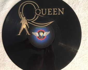 "Queen vinyl record wall art - upcycled from an original 12"" vinyl record"