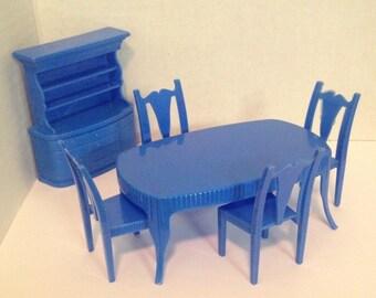 Superior Blue Diningroom Set 1:16 vintage dollhouse furniture plastic