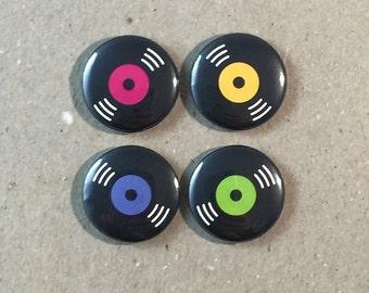 Vinyl Record 4 - 1 Inch Button Pinback Pin Set