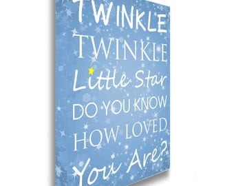 Twinkle Twinkle Little Star, Yellow star detail Canvas Print Picture Wall Art Sign Plaque