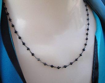 Black Spinel sterling silver gemstone necklace