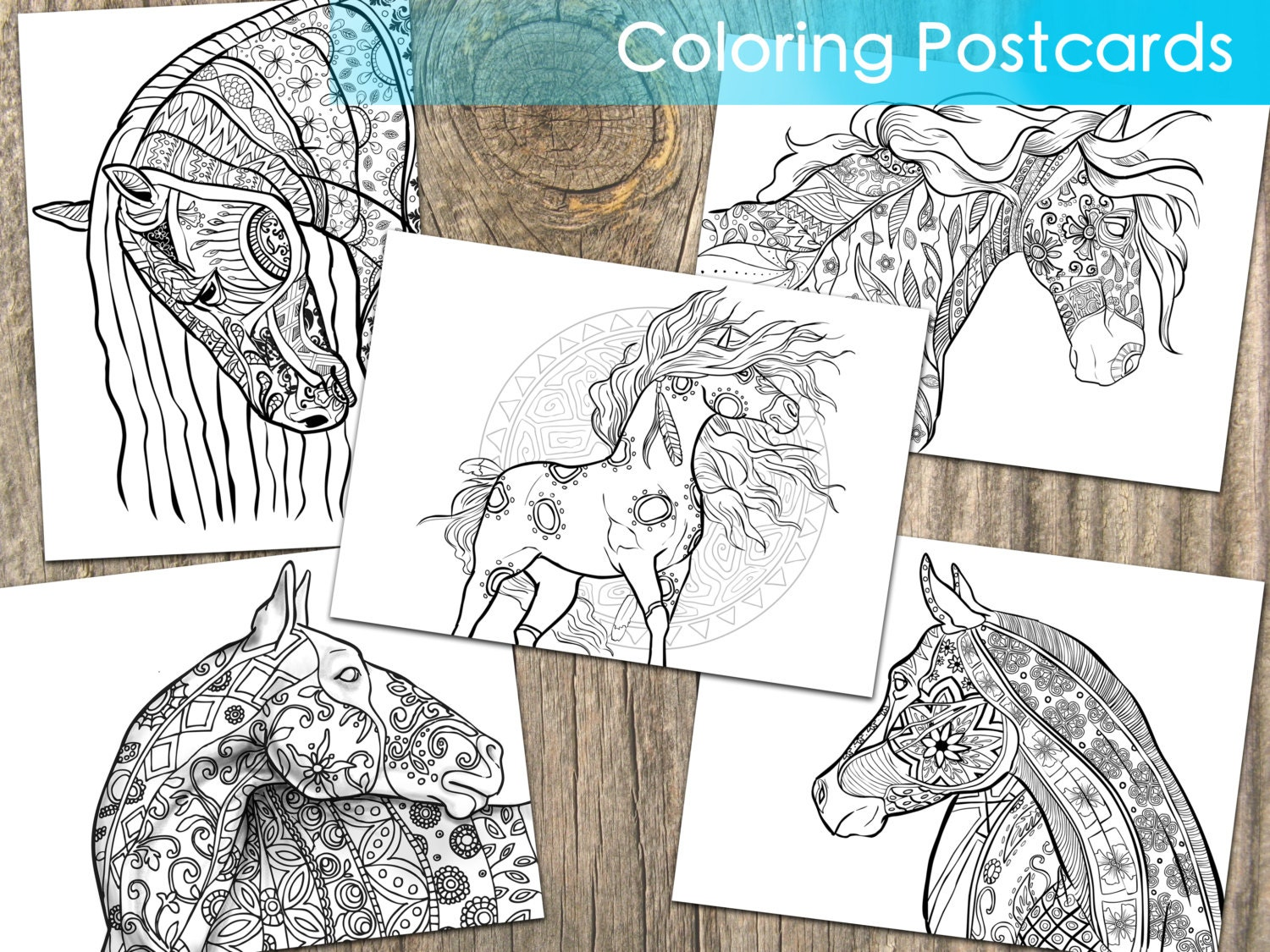 Coloring Postcards. Adult Coloring Postcards. Free Shipping