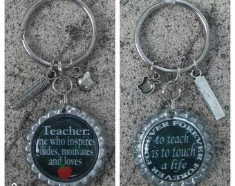 TEACHER GIFT, Bottle Cap Keychain, Birthday Gift, End of Year Gift, Teacher Appreciation, Thank You