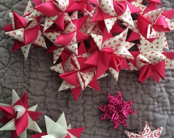 Valentine's Day paper german stars. Paper star origami favors and decorations for showers and parties