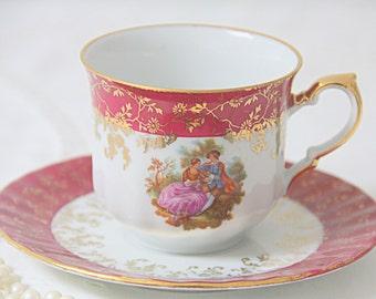 Vintage Porcelain Cup and Saucer, Fragonard Decor, HK Bavaria, Germany, 22 Kt Gold
