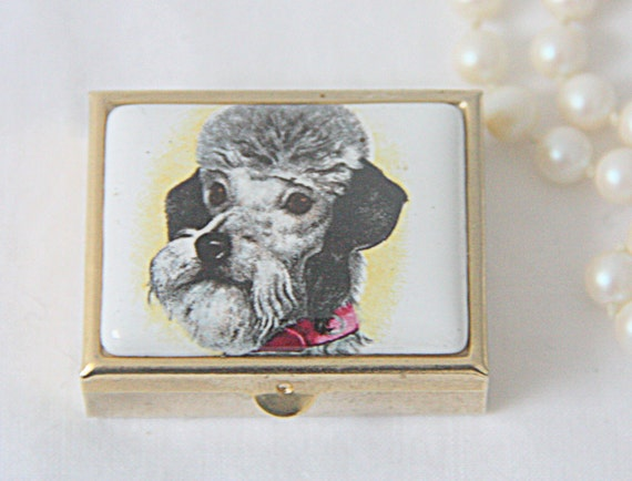 Vintage Small Metal Box, Pill Box/Mint Box, Poodle Dog Decor