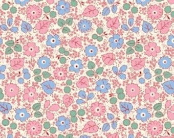 Feedsack Florals - Pink Blue Flowers on White - Reproduction 1930s - by the Half Yard