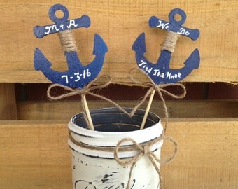 Wedding Cake Topper. Cake Topper. Nautical Cake Topper. Nautical Wedding. Rustic Wedding Cake Topper. Beach Wedding.