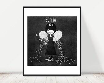 GIRL'S NAME - fairy princess, personalised name print, personalised nursery art, custom name print, girls room, illustrated, printable