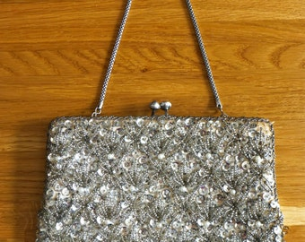 Vintage Beaded and Sequined Evening Bag