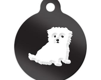 Maltese Engraved Round Key Chain Dog Tag puppy v2 - MRD-139