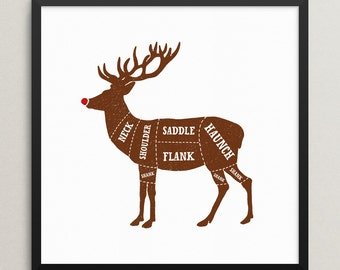Reindeer butcher print – Venison cuts – Butcher chart – Butcher diagram – Meat cuts – Kitchen art – Christmas prints – Christmas – BUT001