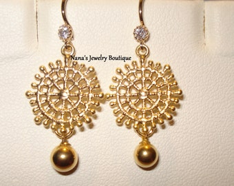 Matte Gold Plated, Starbust Style, Dangle Earrings w/Cubic Zirconia